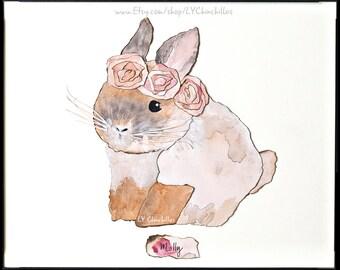 Animal Portrait * Watercolor * Linen * Charcoal * includes Frame! * Select Rabbit, Bunny, Bun, Bunnies, Rabbits