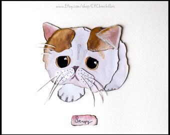 Animal Portrait * Watercolor * Linen * Charcoal * includes Frame! * Select a Cat, Kitten, Feline, Kitty, Nala, Grumpy Cat