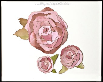 Floral Artwork * Watercolor * Linen * Charcoal * includes Frame! * Select Flower, Rose, Roses, Hibiscus, Lily, Lilies, Pink, Yellow, Purple