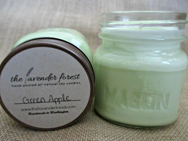 green apple // hand-poured 8oz mason jar soy candle // natural soy wax //  highly scented // rustic
