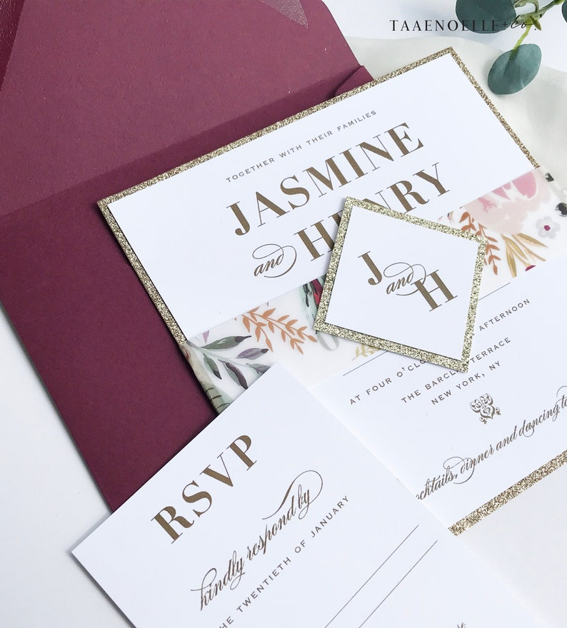 Elegant Wedding Invite Belly Band Floral Invitation Wedding Invitation Gold Glitter Invites Vellum Burgundy Invite Sample