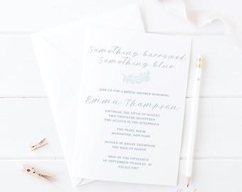 Blue Bridal Shower Invitation | Something Borrowed | Baby Blue | Shades of Blue | Bridal Party | Bridal Shower Invites | Set of 25