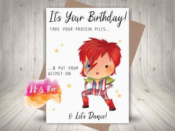 Personalised Funny David Bowie Inspired Birthday Card Etsy