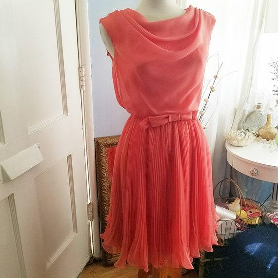 Vintage Chiffon Dress, Size XS, Pleated, Bow