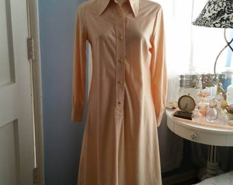 Like a Luscious Peach. 1970's Shirt Dress With Remixxed Gold Buttons. Upgrade You.