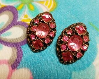 Pink Royal Bling - Vintage Clip Earrings