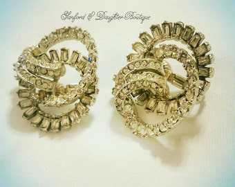 Magnificent Bling. Clip-on vintage rhinestone earrings. Complimentary Shipping.