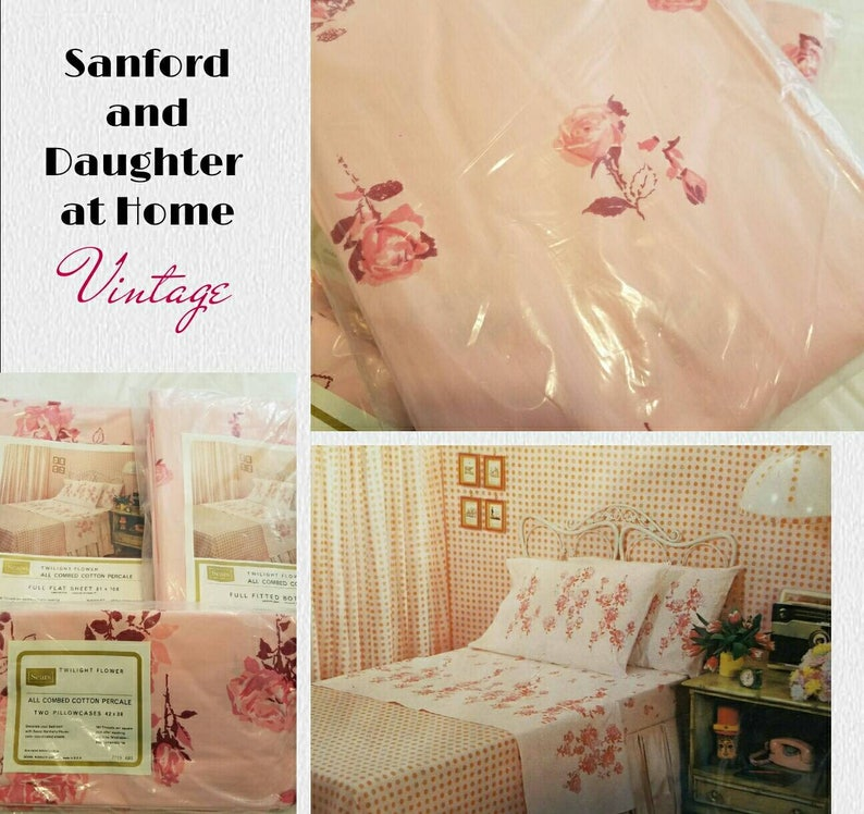 Absolutely Beautiful Vintage FullDouble Sheet Set Includes Flat Complete Set Fitted and Two Pillowcases. Brand New