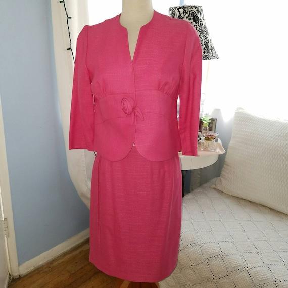 Hot Pink Linen Suit   Skirt & Jacket - image 1