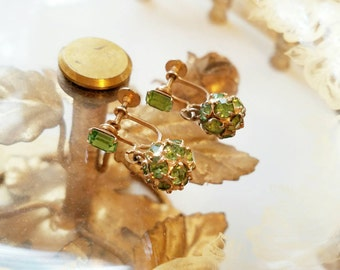 Pretty Green Vintage Screwback Earrings by WEISS Elegant and Classy. Complimentary Shipping.