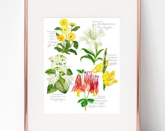 Glorious Mysteries Botanical Rosary print