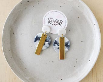 Circle Tag Earrings - White Granite & Marbled Grey with a brass rectangular bar.