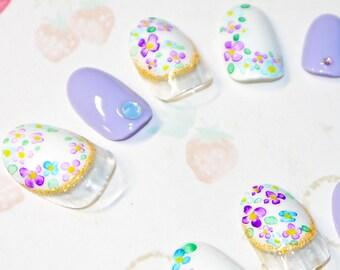 Faux ongles, nail art, japonais, kawaii, Fleur, aquarelle, hortensia, violet, blanc, soirée, cosplay, lolita, fairykei, décora