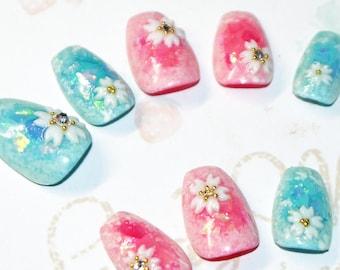 Faux ongles, nail art, japonais, kawaii, kimono, sakura, fleur, rose, bleu, soirée, cosplay, lolita, fairykei, décora