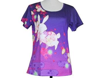 tshirt, floral, fleur, T-shirt kimono, usagi, lapin, coloré, kawaii, stretch, full graphique