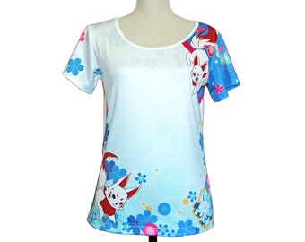 tshirt, floral, fleur, T-shirt kimono, kitsune, renard, coloré, kawaii, stretch, full graphique