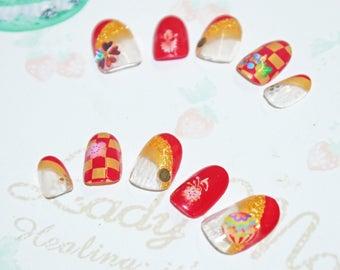 Faux ongles, nail art, japonais, kawaii, kimono, Fleur, rouge, or, soirée, cosplay, lolita, fairykei, décora