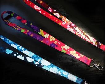 Set de 3 Lanière, 3 lanyard, neck strap, porte clés, porte badge, tour de cou, kimono, fleur, kitsune, renard, noir, rouge
