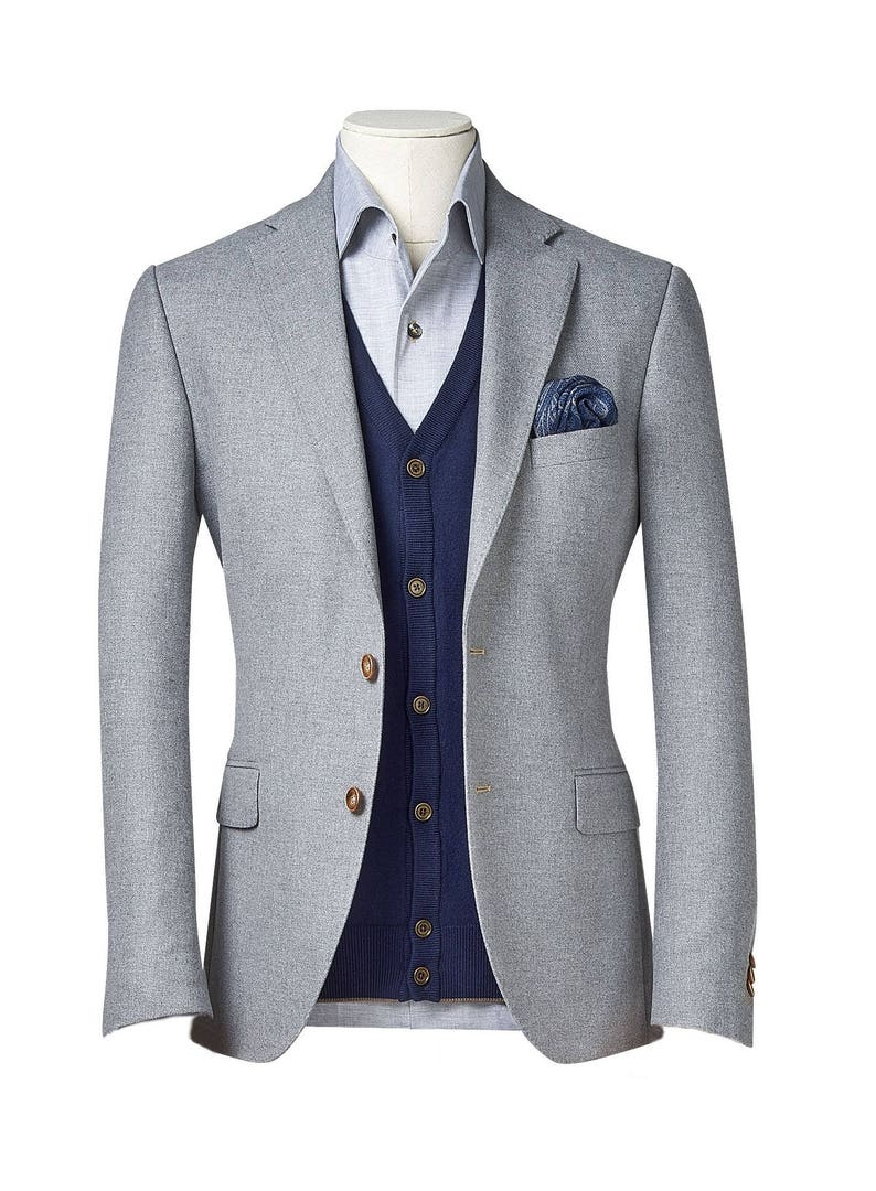 72b806e7c52 Men s custom suit  Full canvas  Super 100s  Grey  Custom