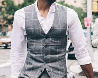 Men\'s Vest Men\'s Waistcoat Men\'s Blue Paisley