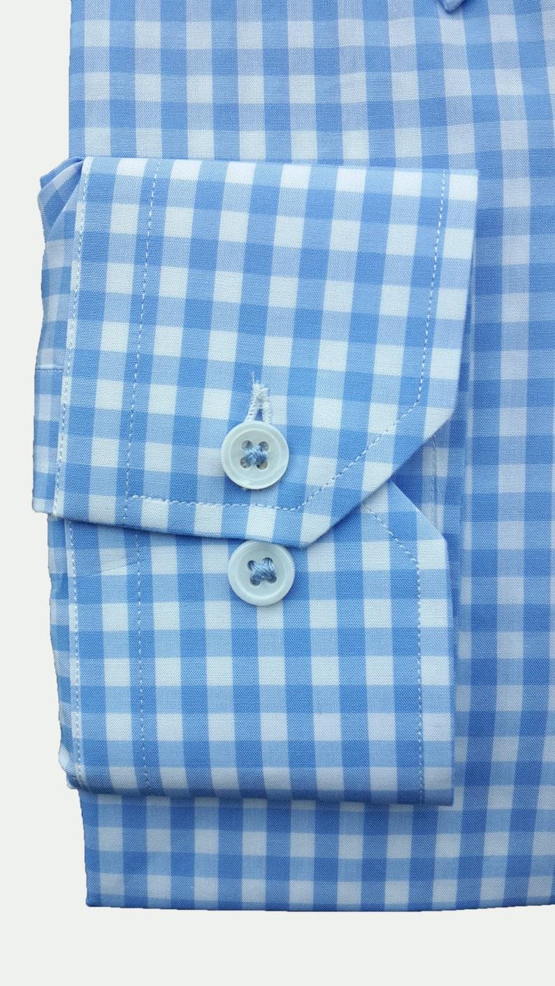 Men/'s and Women/'s Light Blue Check Button-Down Collar Dress Shirt  Custom made  Handmade