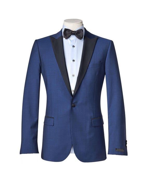 contrasting black lapels Full canvas Super 120sWedding Suit Men/'s custom suit
