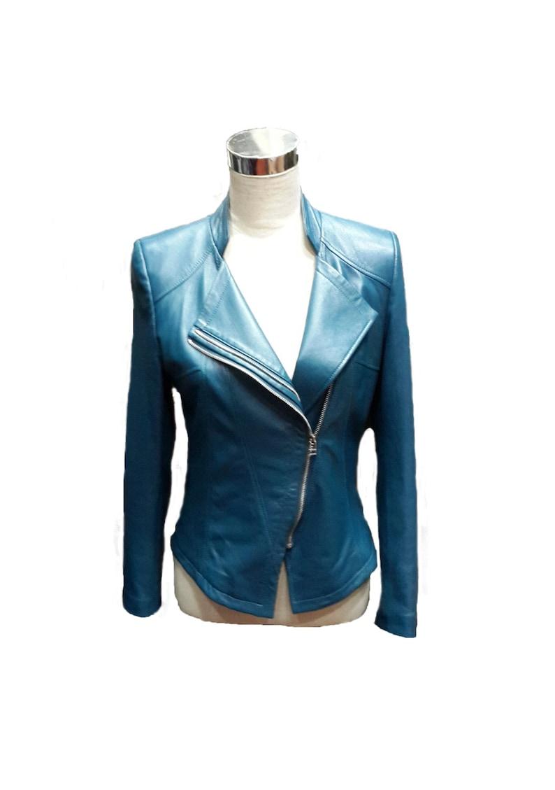 170b2d862a1d9 Kurtka skórzana damska ręcznie robiona-lekka niebieska kurtka