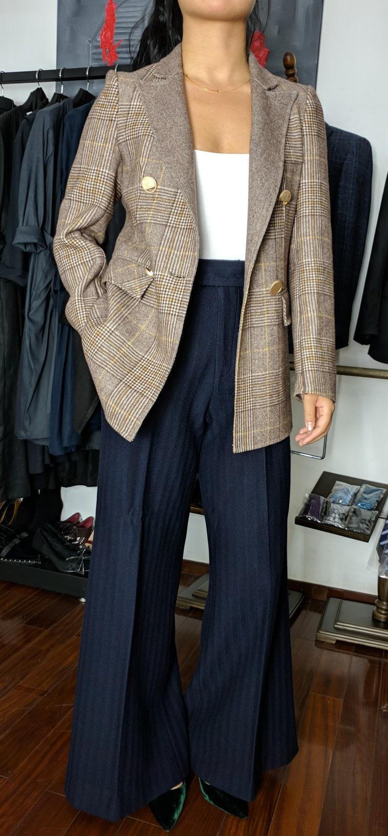 Wool Brown Plaid  Women/'s blazer includes custom pants Super 100s brown