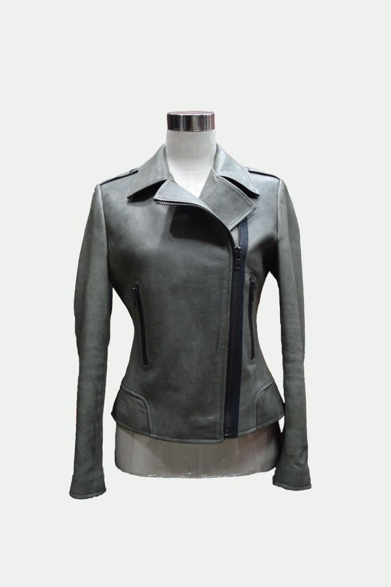 Women's Charcoal Blazer, White Dress Shirt, Black Leather