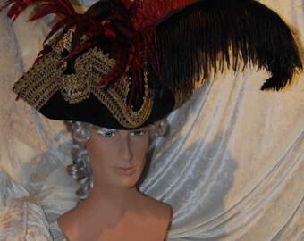 Tricorno per donna Accessorio burlesque Cappello Carnevale  1ae5bb93a998