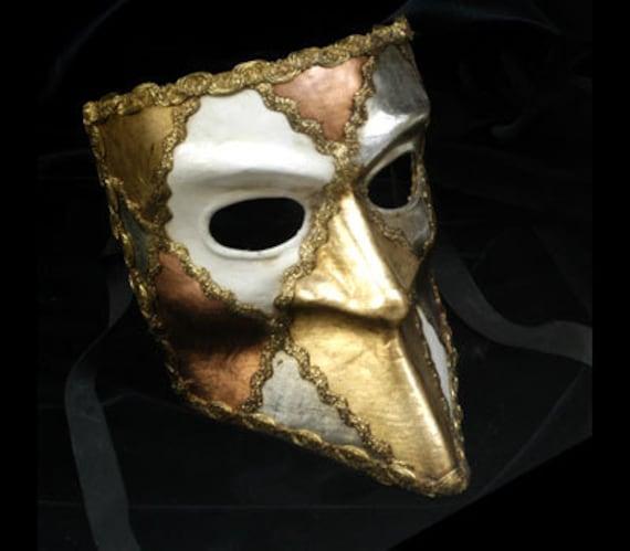 Bronzo Avorio Colombina Maschera Veneziana Ballo in Maschera Costume Accessorio