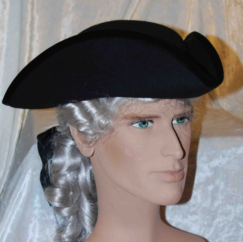 Tricorn Hat for Men made of Wool Black or White Pirate costume for ... e6d0ce5d4bc3