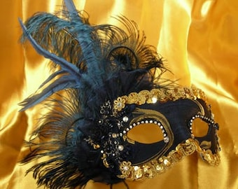 Eye Mask for Women with Feathers Blue, Pink, Black, White or Red -  Original and Traditional Venetian Mask MT31/MT32/MT33/MT34/MT35/MT36