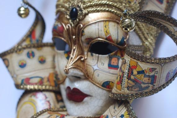 Jester Mask White and Gold Joker Wall-decoration Venetian   Etsy