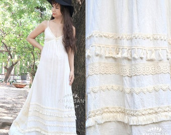 Boho Maxi Dress Feminine Style in Off White, Gypsy Bridesmaid Bohemian Wedding Dress, Comfy Cotton Beach Summer Dress, Kd027