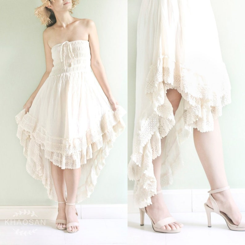 e5cf22b053 Strapless Wedding Dress Smocked Boho Beach Wedding Dress in | Etsy