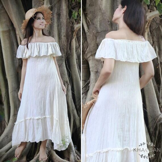 c3c3223095d Boho Off Shoulder Maxi Dress in Off White Strapless Summer