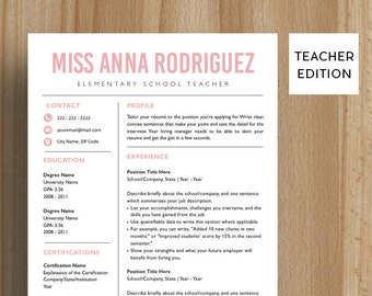 Teacher Resume Template | CV Template |  Cover Letter | For MS Word / iWork | Instant Download | Modern Resume Design | Mac / Pc