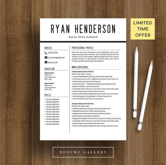 Professional Resume Template | CV Template | Cover Letter | Editable PDF |  Instant Download | Modern Resume Design | Mac / Pc