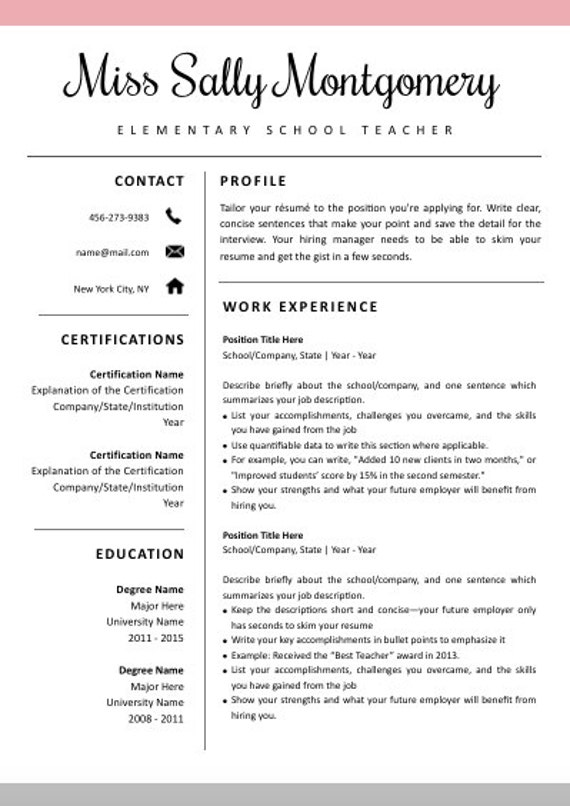 Teacher Resume Template Cv Template Cover Letter For Ms Etsy