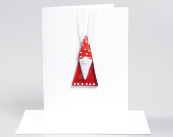 Handcrafted Fused Glass Art - Christmas Gonk Greeting Card