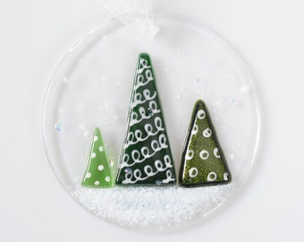 Handcrafted Fused Glass Art - Christmas Globe Tree Decoration