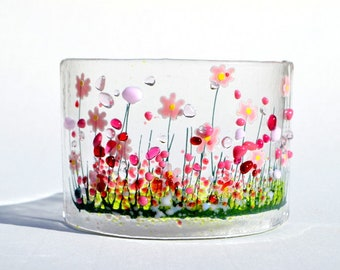 Handcrafted Fused Glass Art - Blooming Curve