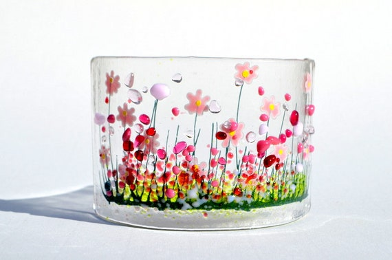Small Fused Glass Curve With Spring Flowers Handmade Glass Art Birthday Anniversary Gift Present Mum