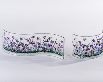 Handcrafted Fused Glass Art - Violet Collection