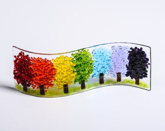 Handmade Fused Glass Art - Magical Rainbow Tree, suncatcher, in Chakra colours, thank you key workers