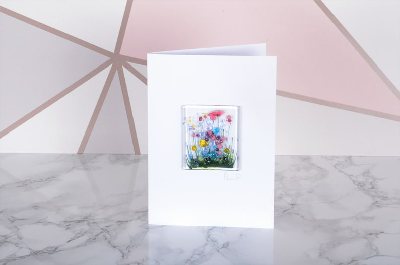 READY TO POST Handmade Fused Glass Art  Cards  Wildflower Wildflower