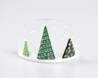 Handcrafted Fused Glass Art - Christmas Globe Curve