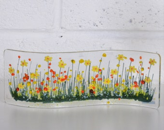 Handcrafted Fused Glass Art - Daffodil Wave, Spring flowers , Proud to be Welsh, Golden Anniversary