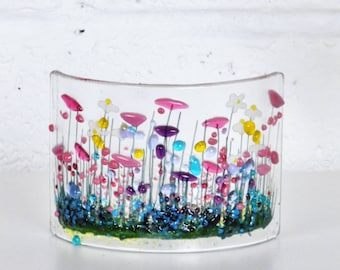 Handcrafted Fused Glass Art - Wild Garden Curve